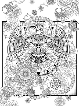 mysterious: mysterious totem coloring page with floral elements Illustration