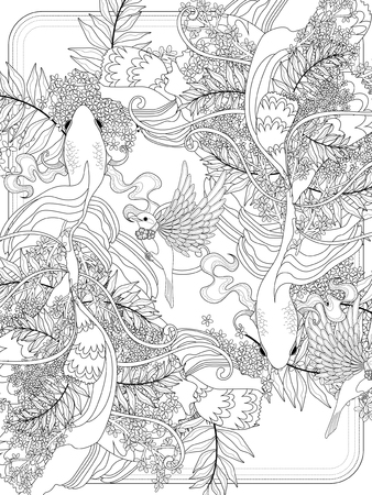 goldfishes: graceful goldfish swim underwater - adult coloring page