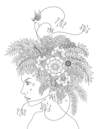 headwear: fashion adult coloring page with a woman and her floral headwear
