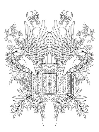 blessing: blessing bird adult coloring page with floral elements