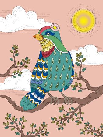 fila de personas: Colorear adulto con pájaro precioso dama en el árbol