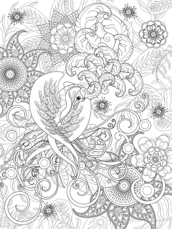 elegant bird coloring page with floral elements