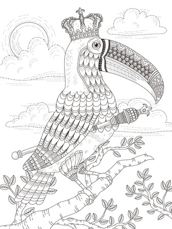 solemn: adult coloring page with solemn king toucan Illustration