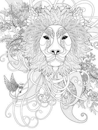flurry: prestigious lion coloring page with floral elements with floral elements