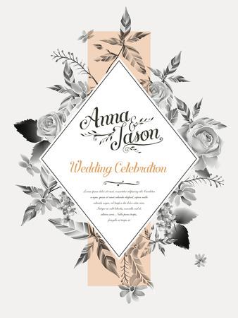 Design retrò festa di nozze poster con le rose acquerello Archivio Fotografico - 55912436