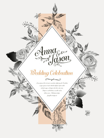 retro wedding celebration poster design with watercolor roses Иллюстрация