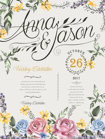 typesetting: retro wedding celebration poster design with watercolor roses Illustration