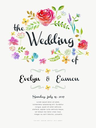 레트로 결혼식 축하 포스터 디자인 수채화 장미와 함께 일러스트