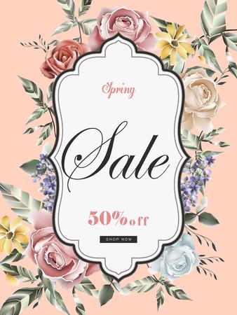 로맨틱 장미와 복고풍 프레임 판매 포스터 템플릿 디자인에 일러스트