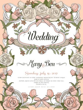 장미 프레임 복고풍 결혼 축하 포스터 디자인 일러스트
