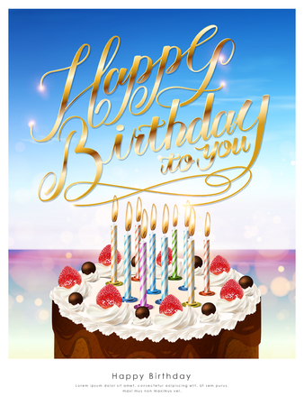birthday cake with candles: Happy birthday poster template design with delicious cake