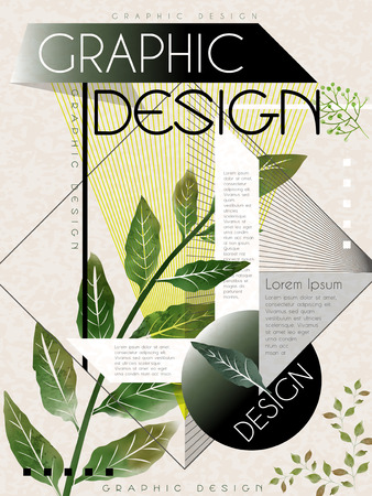 typesetting: poster template design with green leaves and geometric elements