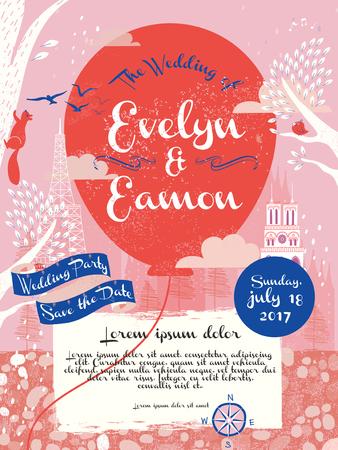 만화 스타일의 사랑 스럽다 결혼 축하 포스터 디자인 일러스트