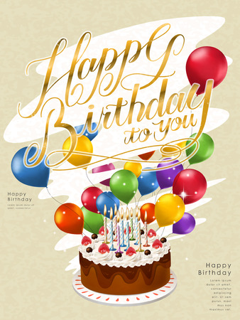 typesetting: Happy birthday poster template design with lovely cake and balloons Illustration