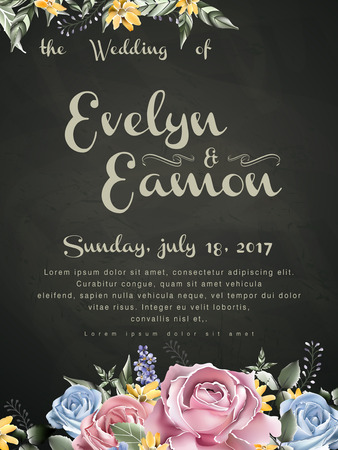 background flower: retro wedding celebration poster design with watercolor roses Illustration