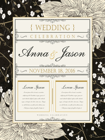 typesetting: romantic and retro wedding celebration poster design with floral elements Illustration