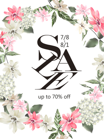 typesetting: on sale poster template design with retro and romantic floral frames