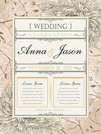 conception d'affiche de célébration de mariage romantique et rétro avec des éléments floraux