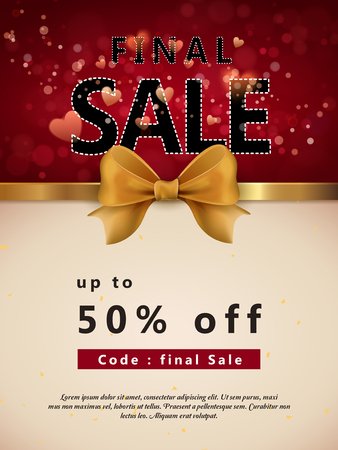 typesetting: final sale poster template design with golden ribbon and sparkling background Illustration