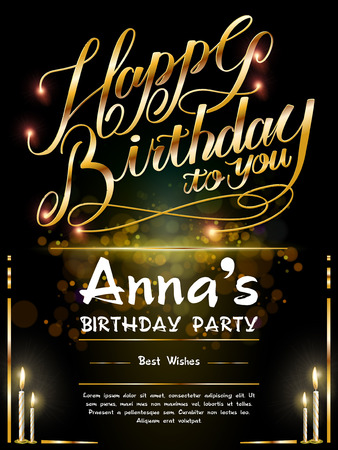gorgeous Happy birthday poster template design with golden words