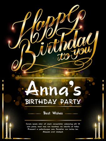Herrlicher alles Gute zum Geburtstagplakat-Schablonenentwurf mit goldenen Wörtern Standard-Bild - 55912485