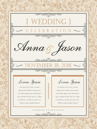 elegant template: elegant wedding celebration poster design with floral frame