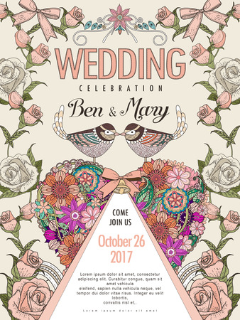 lovely couple: lovely wedding celebration poster design with roses and birds