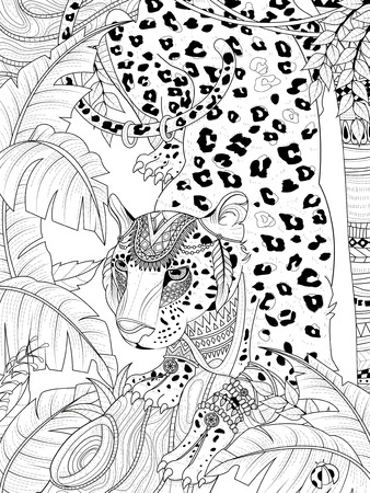 headwear: adult coloring page - gorgeous jungle leopard with headwear