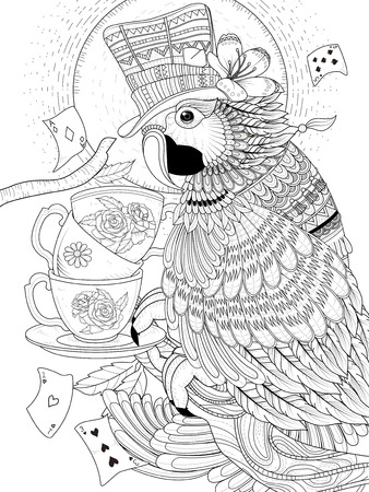 exquisite: adult coloring page - lovely magician parrot with tea cups