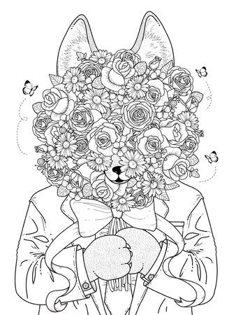 Coloriage adulte - loup se cache derrière roses bouquet
