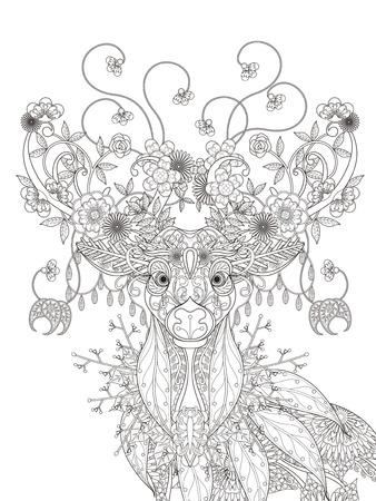 大人ぬりえページ - 抽象的な魅力的な花鹿