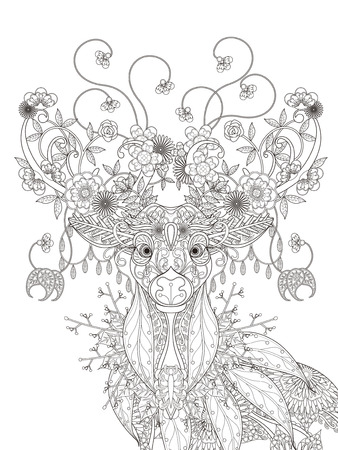 성인 색칠 페이지 - 추상 매력적인 꽃 사슴