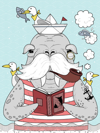 seagulls: adult coloring page - sailor walrus with seagulls Illustration