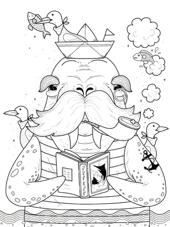 adult coloring page - sailor walrus with seagulls Vectores