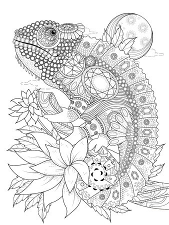 exquisite: adult coloring page - chameleon bedecked with jewels