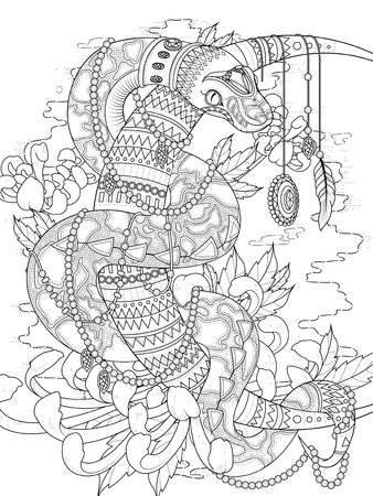 adult coloring page - mysterious snake with jewelries and higanbana Vectores