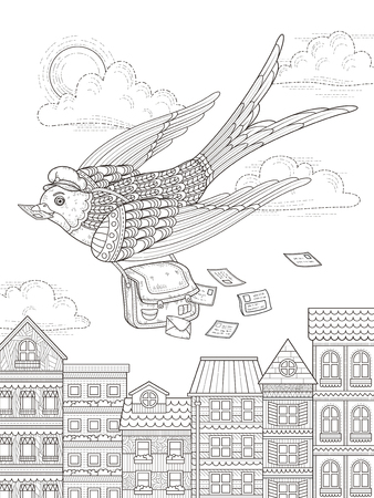 exquisite: adult coloring page - swallow mailman flying through city