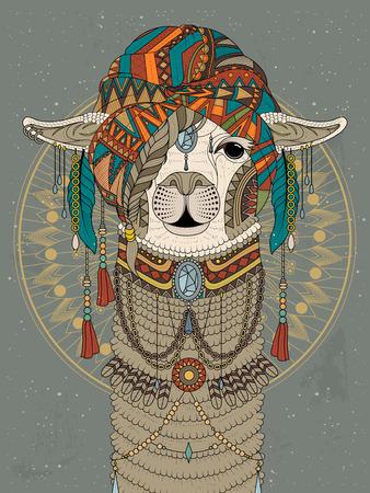 llama: adult coloring page - alpaca with splendid headwear