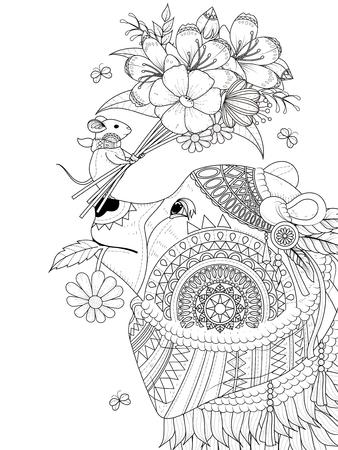 大人ぬりえページ - 小さな友人とクマ