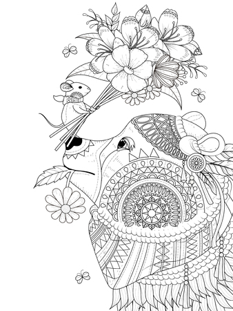 adult coloring page - bear with its tiny friend