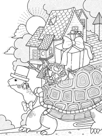 exquisite: adult coloring page - gentlemen turtle moving house
