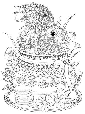 adult kleurplaat - schattige eekhoorn in een theepot Stock Illustratie