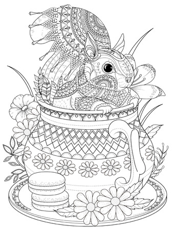 adult coloring page - adorable squirrel in a teapot