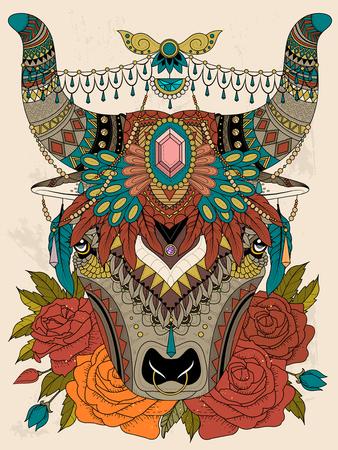 headwear: adult coloring page - yak with his splendid headwear