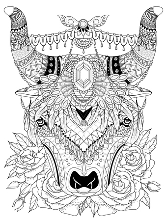 adult coloring page - yak with his splendid headwear