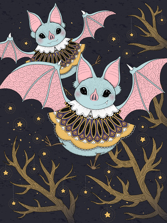 starry night: adult coloring page - lovely bat flying through starry night