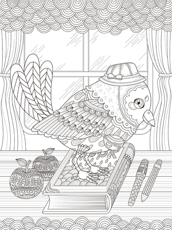 monochrome: adult coloring page - adorable bird going to school