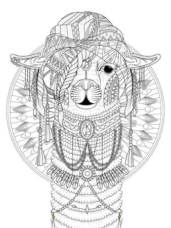 adult coloring page - alpaca with splendid headwear