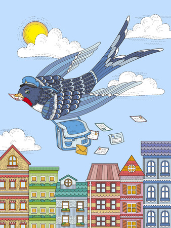 adult coloring page - swallow mailman flying through city