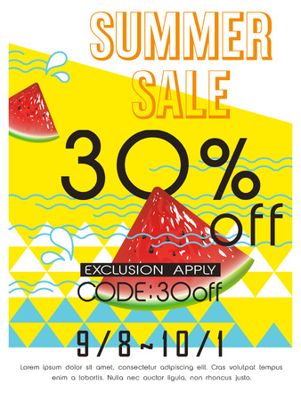 summer sale: summer sale poster template design with watermelon Illustration